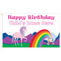 Customizable Happy Birthday Unicorn Flag, FUNBDAYUNICORNC