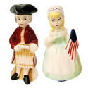 Early Colonial Americans Patriotic Couple Ceramic Salt and Pepper Shaker Set, GFIC613