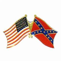 Waving Confederate and USA Flag Lapel Pin, GPIN749