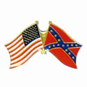 Waving Confederate and USA Flag Lapel Pin, GPIN749