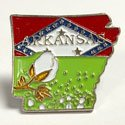 Arkansas State Map Enamel Pin, GPINARKS