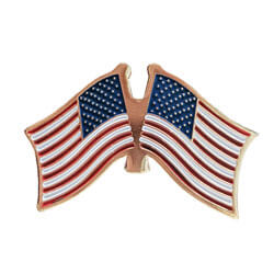 Double American Flag Lapel Pin, GPINUSUS