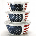 Stars and Stripes Covered Bowl Set