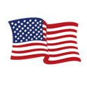 Left-Hand Waving American Flag Decal, III250