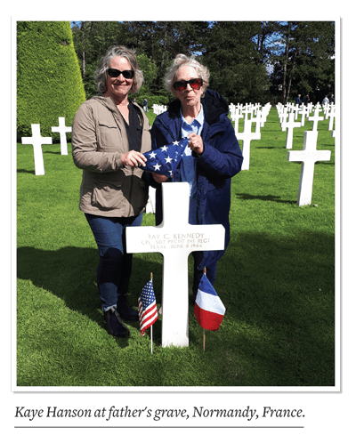 Kaye Hanson at father's grave, Normandy, France