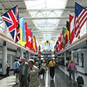 Flag installation in an international airport