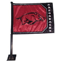 Arkansas Razorbacks Running Hog Shield Car Flag, J80230
