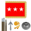 Oak And Chrome Army Lt. General Flag Kit