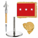 Oak And Chrome Guidon Army Lt. General Flag Kit