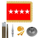Oak And Chrome Army General Flag Kit