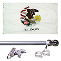 Illinois Tangle Free Flagpole Set