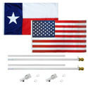 Texas and US Tangle Free White Flagpole Set, KTF35TXUSW