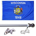 Wisconsin Tangle Free Flagpole Set