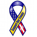 Support Our Troops Static Cling U.S/Yellow ribbon, MAGBYISC