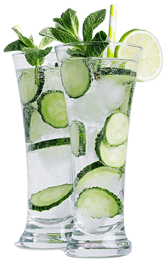 Cucumber mint infused water with lime