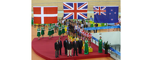 The medal ceremony for the men's team pursuit at the Beijing 2008 Summer Olympics