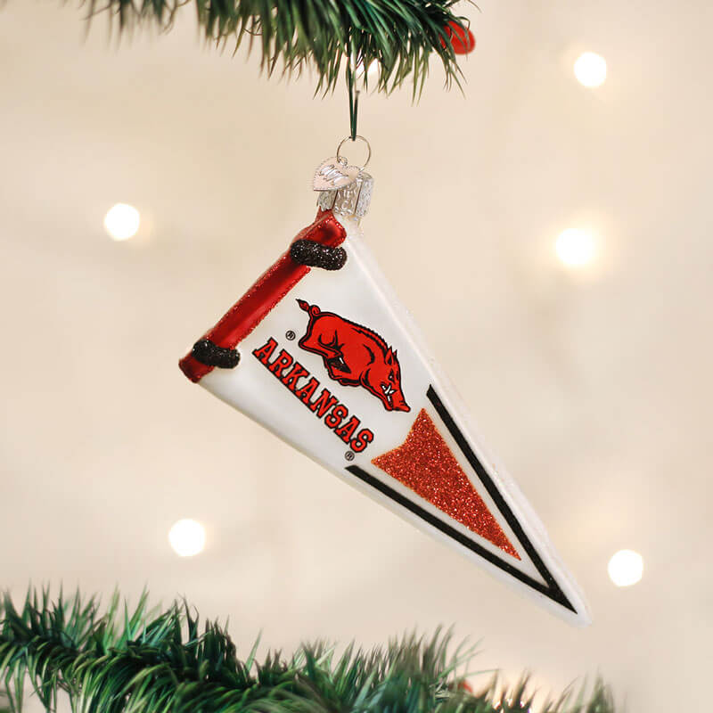Arkansas Razorbacks Pennant Ornament