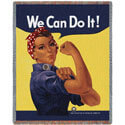 Rosie The Riveter Throw Blanket, PCI942T