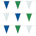 Green, White and Blue String Pennants, PENNS120GWB