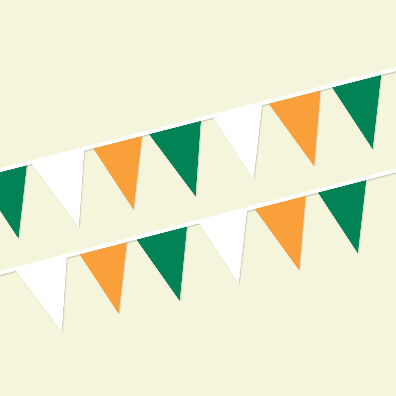Green/White/Orange String Pennants