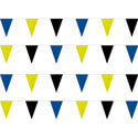Blue, Yellow, Black String Pennants, PENNS123BYB