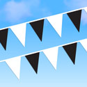 Black and White String Pennants