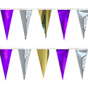 Purple Gold Silver String Pennants, PENNSCR6P