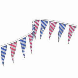 Alternating Blue and Silver Stripes & Red and Silver Stripes String Pennants, PENNSDB60
