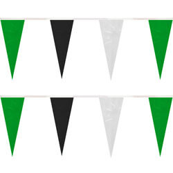 Green Black White String Icicle Pennants, PENNSP550GBW