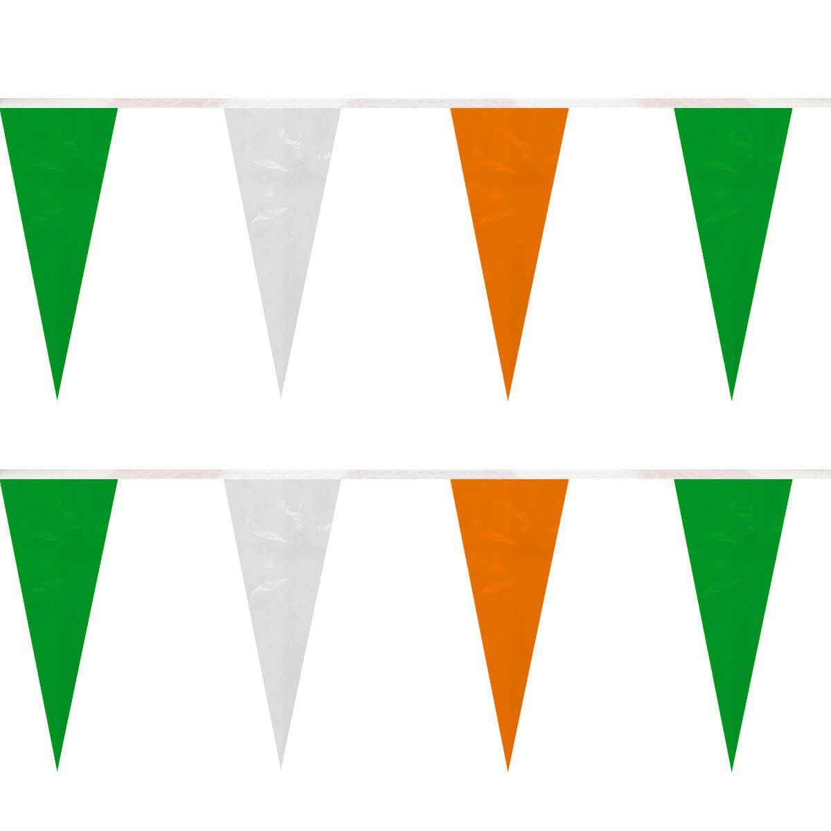 Green/White/Orange Heavy Duty String Icicle Pennants