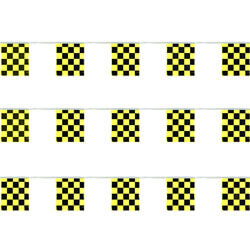 Black and Yellow Checkered Polyethylene String Pennants, FBPP0000012466