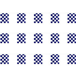 Blue and White Checkered Polyethylene String Pennants, FBPP0000009887