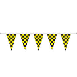Black and Yellow Checkered Polyethylene String Pennants, FBPP0000012467
