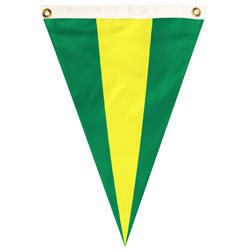 Nylon Green-Yellow-Green Tri-color Single Pennant, FBPP0000012588
