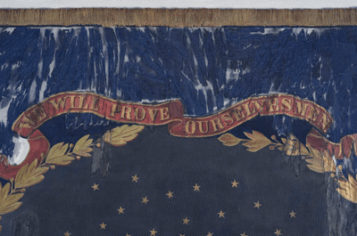This undated photo provided by Morphy Auctions shows a detail of the 127th Regiment United States Colored Troops battle flag in Denver, Pa. The flag was carried into battle by one of the 11 black Union regiments during the Civil War is going up for auction in Pennsylvania. The flag was painted by David Bustill Bowser, an African American artist who was a member of one of the regiments and the son of a fugitive slave. (Morphy Auctions via AP) (Associated Press)