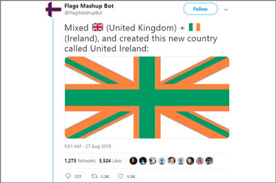 The Flags Mashup Bot generated post featuring a Irish colored Union Jack