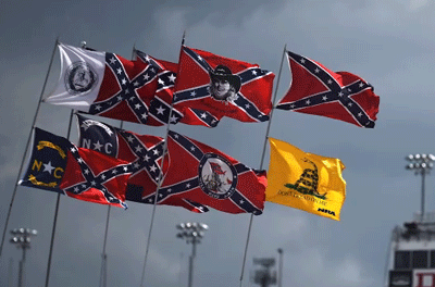 Confederate flags flying at a race