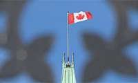 The Canadian government uses 250 flags each year for the Centre Block of the Peace Tower in Ottawa. (CBC)