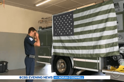 How firefighter Spencer Caradine sees the flag (CBS)