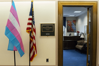 A transgender pride flag stands outside of Sen. Bernie Sanders' office in Washington / Senator Bernie Sanders Office