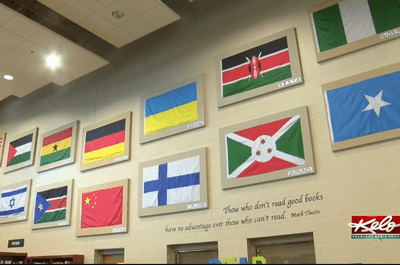 World flags hanging at Harrisburg High School (Kelo)