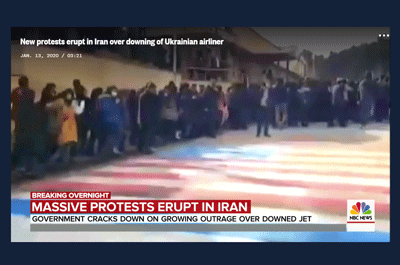 Iranian protestors avoid walking on US and Israel flags / NBC News