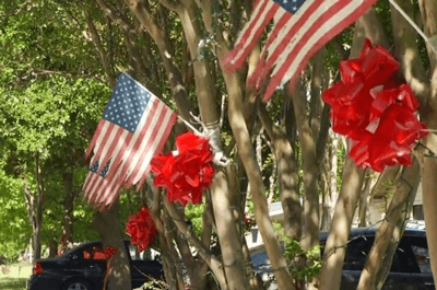 American flags and red bows on trees / Photo coutesry of delia A. Guajardo