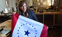 Jackson artist Laurin Stennis, granddaughter of the late U.S. Sen. John C. Stennis, designed a proposed state flag that has been introduced in the Legislature through House Bill 1548 by state Rep. Kathy Sykes, D-Jackson. |JOE ELLIS/THE CLARION-LEDGER