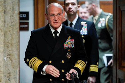 FILE PHOTO: Navy Adm. Michael Gilday, chief of naval operations, arrives to testify to the Senate Armed Services Committee about military housing on Capitol Hill in Washington, U.S., December 3, 2019. REUTERS/Joshua Roberts/File Photo