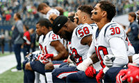 NFL players from the Houston Texans and other teams chose to take a knee during the national anthem before kickoffs in the 2017 season. Joe Nicholson/USA TODAY Sports