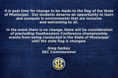 Statement from @SEC Commissioner @GregSankey on State of Mississippi flag / Twitter