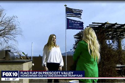 A woman in Prescott Valley may inspire a change in city ordinance when it comes to flying political flags after she is threatened with hundreds of dollars in fines for not taking down a Trump 2020 flag.