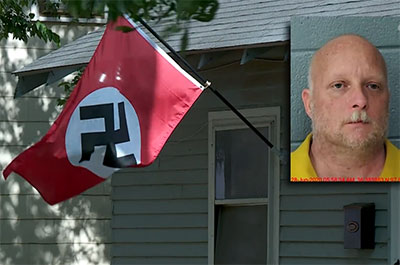 The victim had been with friends at a nearby party when she apparently snatched one of the swastika flags displayed outside the man's home.