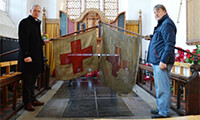 The Rev Paul Cubitt and Keith Jarvis with the old North Walsham First World War flags they would like to recreate. Picture: Richard Batson